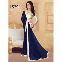 Designer Georgette Pearls Pattern Party Wear Navy Blue Saree - 15394 ( ML - 896 )