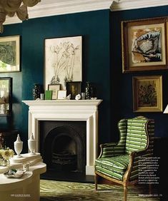 dark teal walls , drawn to this wall color , but for which room? Teal Living Rooms, Home And Living, Living Spaces, Small Living, Living Room Wall Colors, Teal Room Decor, Peacock Living Room, Teal Rooms, Dark Blue Living Room