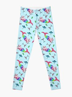 """""""Catfish Mermaid Party All Over Pattern"""" Leggings by grumblebeeart 