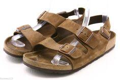 Birkenstock MILANO Womens Sandals Size 11 nubuck leather ankle strap mens 9 42 #Birkenstock #Slides @eBay