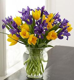purple and yellow wedding bouquets | Yellow Tulip and Purple Iris Bouquet As Bridal Wedding Flowers ...