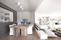 lovely dining concept #wood #white #grey