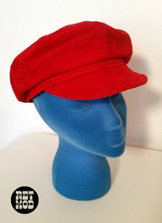 9aacead64c7 Awesome Bright Vivid Red Suede Leather Vintage 70s Groovy Go-Go Hat Cap