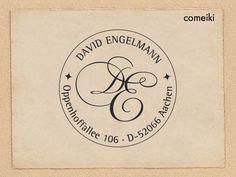 Persönlicher Adress-Stempel Initialen mit Namen - ADRESS-STEMPEL von Comeiki - Weiteres - Stempel - DaWanda