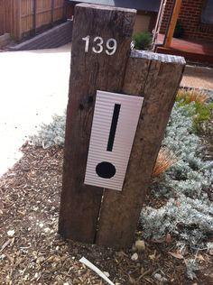Diy Mailbox, Modern Mailbox, Mailbox Ideas, Rustic Letters, Diy Letters, Diy Letter Boxes, Rustic Mailboxes, Australian Native Garden, Railway Sleepers