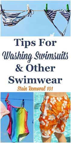 Here are tips for washing swimsuits and other swimwear to keep them looking good, plus how to avoid smelly swimsuits and remove orangish sunscreen stains {on Stain Removal 101} #WashingSwimsuits #LaundryTips #Swimwear