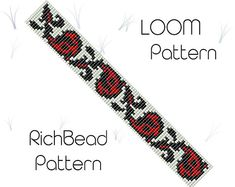 Flower bead loom bracelet pattern PDF seed beaded bracelet