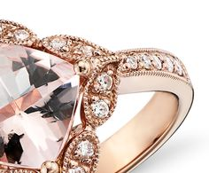Vintage Morganite and Diamond Ring in 14k Rose Gold Engagement rings www.finditforweddings.com
