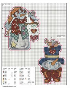 [78+xmas+ornaments+charts+47-48.jpg]; Let It Snow Christmas Ornaments free cross stitch patterns with color keys