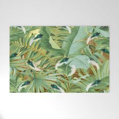 Golden Royal White and Blue-green Peacock Feathers Welcome Mat by justkidding #WelcomeMat #graphicdesign #leaves #peacockfeathers #green #darkgreen