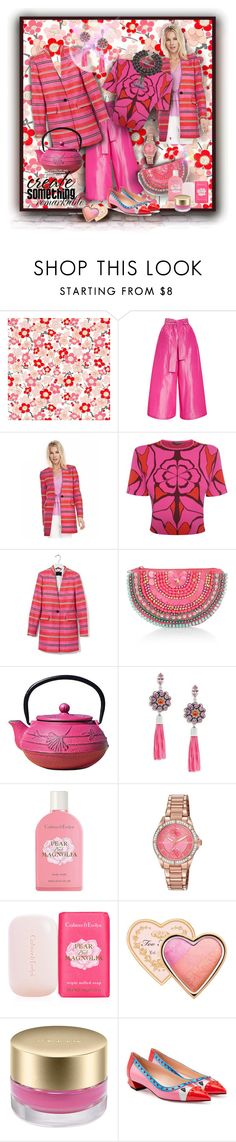 """""""Red & Fuchsia Set with Striped Collarless jacket"""" by franceseattle ❤ liked on Polyvore featuring Tome, Banana Republic, Alexander McQueen, Trilogy, Accessorize, Old Dutch, Gerard Yosca, Crabtree & Evelyn, Citizen and Too Faced Cosmetics"""