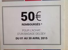 """PROMOTION DELSEY PROMO DELSEY """" les journées shopping folies"""" 50€ *remboursés immédiate en caisse pour l achat d'une valise trolley entre le 01/04/15 et 30/04/15 dans notre boutique et aussi sur notre site internet ...* voir conditions sur le site et boutique  S'CALE BOUTIK maroquinerie Nice France ,28 avenue Auber face à la gare Thiers Nice ville tél 04 93 62 64 30 ou sur notre site internet www.scaleboutik.com livraison offerte dans toute la France et monaco"""