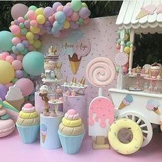 """Larger than life decor adds incredible character to events. How """"sweet"""" is this?   for more party content! Candy Theme Birthday Party, Candy Land Theme, Donut Birthday Parties, Candy Party, Birthday Party Decorations, Watermelon Party Decorations, Birthday Cake, Deco Baby Shower, Baby Shower Balloons"""