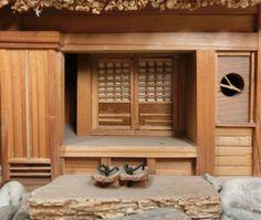 Japanese wooden ware Tasteful miniature Japanese old house