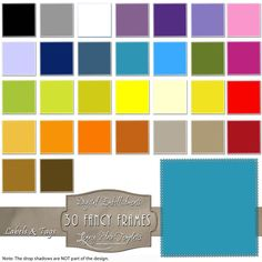 30 different colored digital fancy frames.  Each file is a PNG with a transparent background. $3.50  #frames, #digital, #printable, #download, #blue, #purple, #green, #red, #yellow, #orange, #blogging, #scrapbooking, #card making