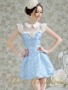 Blue White Folka Dots Lace Ruffle Trendy Hemline Pleated Dress