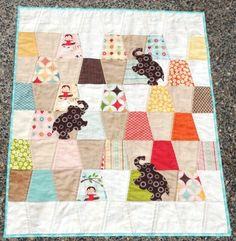 Charming Pachyderms Free Quilt pattern featuring Riley Blake Designs fabrics