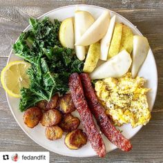 Breakfast perfection by @fedandfit --  >>>> Sunday breakfast is my favorite breakfast! Enjoying some crispy @forkintherd breakfast sausages breakfast plantains lemony kale a rare peeeeerfect pear and a couple scrambled eggs topped with the Adobo #primalpalatespices blend. . Look to my #fedandfitbook (link to snag a copy off Amazon Prime in my profile) for the breakfast plantain recipe (p. 145) and for the lemony greens recipe (p. 129). @primalpalate's spices can be found on their website and…