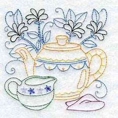 Buy Individual Embroidery Designs from the set Line Art Tea Pots cream tea