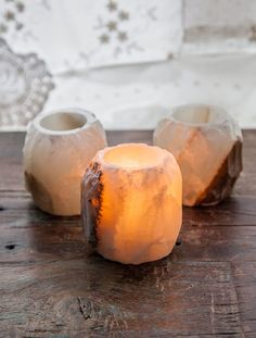 Onyx candle holder. When the candle is lit, this crystals radiates such a soft and ethereal glow. It is the perfect touch of light for you home!