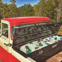Best idea ever for tailgating -- convert your Tractor Supply truck box into a cooler for beer, soda and food!