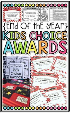 End of the Year Kids Choice Awards! Great way to end the year by allowing students to choose who wins the awards and then invite families to celebrate with an awards ceremony!