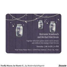 "Firefly Mason Jar Rustic Country Night Weddings 5"" X 7"" Invitation Card"