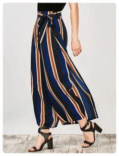 8ee2b2b577d Striped Wide Leg Slit Pants (Stripe) Bohemian Pants