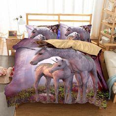 Wholesale bedding 3D Unicorn Printed Bedding Sets/duvet cover set 3d Bedding, Kids Bedding Sets, Queen Bedding Sets, Linen Bedding, Luxury Bedding, Bed Linens, Unique Bedding, Horse Bedding, Comforter Sets