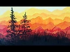 Acrylic Painting Evergreen Trees Silhouette Easy Landscape with Acrylics Demo (time-lapse) - YouTube