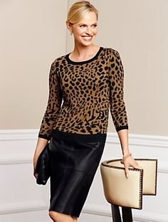 Talbots - Leather & Ponte Pencil Skirt | | Woman Discover your new look at Talbots. Shop our Leather & Ponte Pencil Skirt for stylish clothing and accessories with a modern twist at Talbots