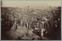 Andersonville Prison, Ga., August 17, 1864. Issuing rations, view from main gate. American Civil War