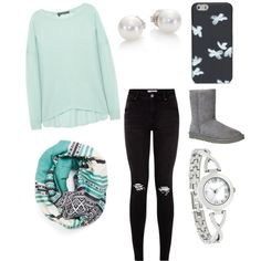 teen fashion by foreverfearliss on Polyvore featuring polyvore fashion style 360 Sweater UGG Australia Mikimoto Marc by Marc Jacobs Michael Stars