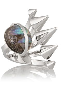 Fendi Silver-plated mother of pearl ring NET-A-PORTER.COM