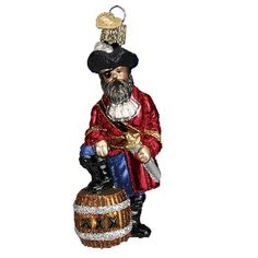 "Pirate Captain Christmas Ornament 24108 Merck Family's Old World Christmas Pirate ornament measures approximately 4 1/4"", made of mouth blown, hand painted glass. Pirates don't"
