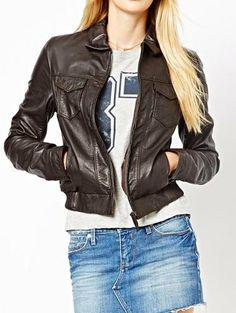 Women brown leather jacket women's leather by Myleatherjackets, $159.99