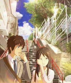 Kimi no na wa: Mitsuha and Taki after the credits. Film Anime, Manga Anime, Kawaii Anime, Mitsuha And Taki, Kimi No Na Wa Wallpaper, Otaku, The Garden Of Words, Anime Amor, Your Name Anime