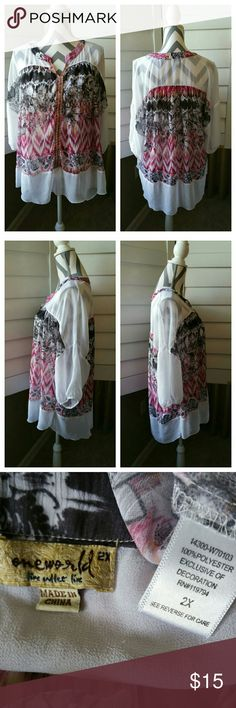 One World Boho Blouse One World Boho Blouse with Embroidered Ribbon Embellishment in EUC with no flaws. Flattering neckline, beautiful print Chiffon body. Measurements to come... ONE WORLD Tops Tunics