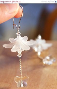 Moving SALE 20 OFF Frosted Flower Earrings Snow by KapKaDesign, $32.80