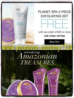 Love Avon Planet Spa? Wanna know where you can get a FREE 2 piece exfoliating set at? From me when you spend $40 online with me at www.youravon.com/my1724 I will send you one your way. Only 5 lucky customer will get this offer so act fast before it to late!! Like and share and be enter to win a free gift basket worth $75 #AVON #BUYAVONPLANETSPA #PLANETSPASHEABUTTER #PLANTSPAPRODUCTS