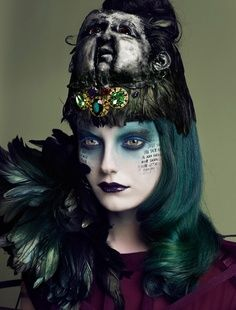 Some cool eye make-up and morbid headdress photo by Photo by Lado Alexi