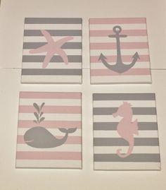 Boy/girl nautical nursery paintings, seahorse, starfish, whale, anchor paintings, nautical nursery decor, sea creatures nursery decor on Etsy, $62.00