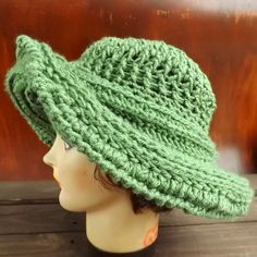 Birthday Gift Ideas for Women, Light Sage Green Crochet Hat Womens Hat, FRONTIER Crochet Wide Brim Hat Women, Sage Green Hat by strawberrycouture Crochet Hat With Brim, Crochet Hat For Women, Knitted Hats, Hat Crochet, 50th Birthday Gifts For Woman, Wide Brim Sun Hat, Green Hats, Wide-brim Hat, Custom Hats