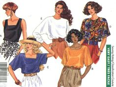 Ladies' Pullover Blouses - Butterick 4873 - Very Easy Sewing Pattern, Sizes 16-18 and 20-22 from www,ohsewtennessee.etsy.com,  These blouses have three different neckline variations: square, scoop, and jewel. They can be made sleeveless, with short or long sleeves. Best of all, this is going to be a super easy pattern to sew up. It will be a great pattern for anyone new to sewing to practice their skills or for someone who needs to turn out a couple of blouses in a minimum amount of time.