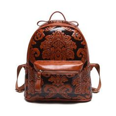 fd9291b15b3b85 Beautiful NEW 2016 Vintage-Style Embossed Floral PU Leather Women's  Large-Capacity Backpack 3