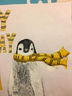 Here's a Hufflepuff Penguin I painted for my friend's birthday card! Had a lot of fun painting this tbh! :D (acrylic paints)
