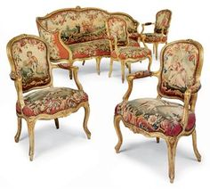 A SUITE OF LOUIS XV GILTWOOD AND AUBUSSON TAPESTRY SEAT FURNITURE