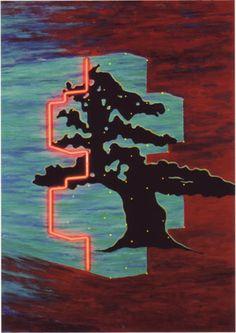 Dwergeik. Object van Woody van Amen. Acryl op doek, neon en led's