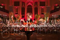 Wedding at 583 Park Avenue, long table in red