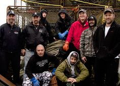 The Time Bandit's crew this season includes, from left to right, back row: Captain Andy Hillstrand, Captain Jonathan Hillstrand, Eddie Uwekoolani, Jr., Scott Hillstrand, Mike Fourtner, Neal Hillstrand and Travis Lofland. Foreground, left to right: Eddie Uwekoolani and Josh Harris.